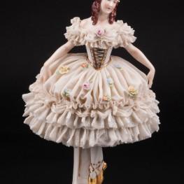 Балерина в белом платье, кружевная, Rudolf Kammer, Германия, 1940-50 гг